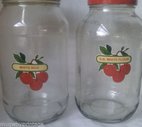 4-Storage-Jars-Red-Cherry-Labels-Vintage-Green-Scoop
