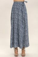 Beautiful Tempest Navy Blue Print Wrap Maxi Skirt 3