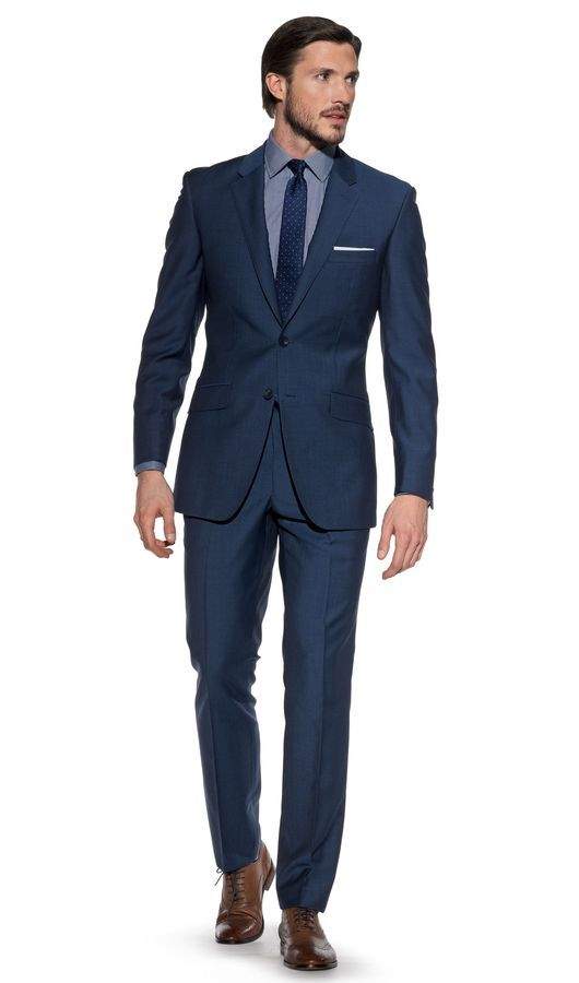 Shackelton Slim-Fit 2-Button Mohair Metallic Blue Suit, from TM Lewin. - Gifts. #gifts