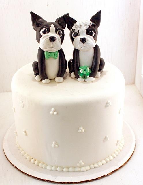 Cute Boston Terrier cake topper.