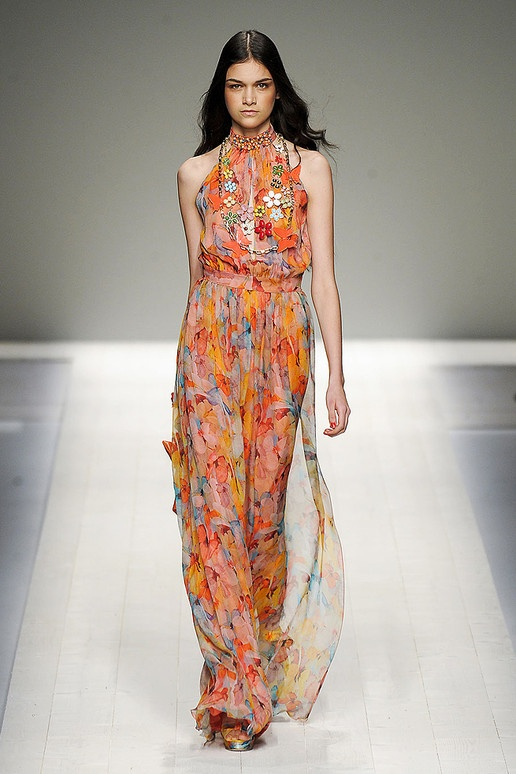Orange Roses& Flowers ❀Trend for Spring 2012 Halter neck 1970s Style Floral Print dress Blugirl Spring Summer 2012.‎