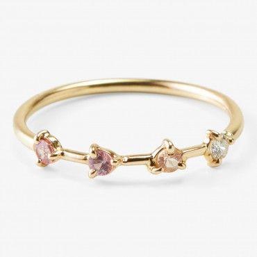 wwake 4-step ring yellow gold & pink sapphire