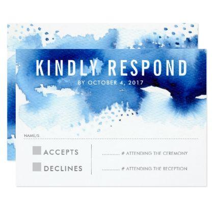 #wedding #responsecards - #RSVP REPLY RESPONSE modern watercolor splash blue Card