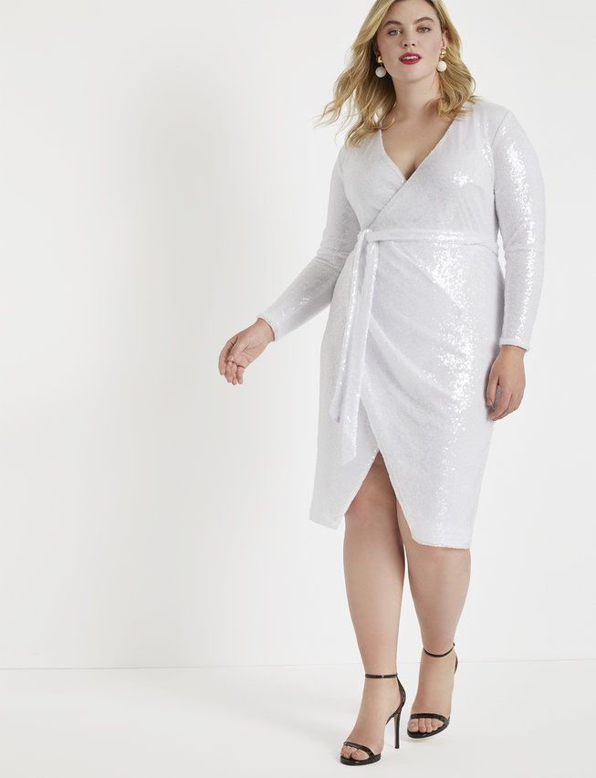 Sequin Wrap Dress - White in 2019 | Plus size holiday ...