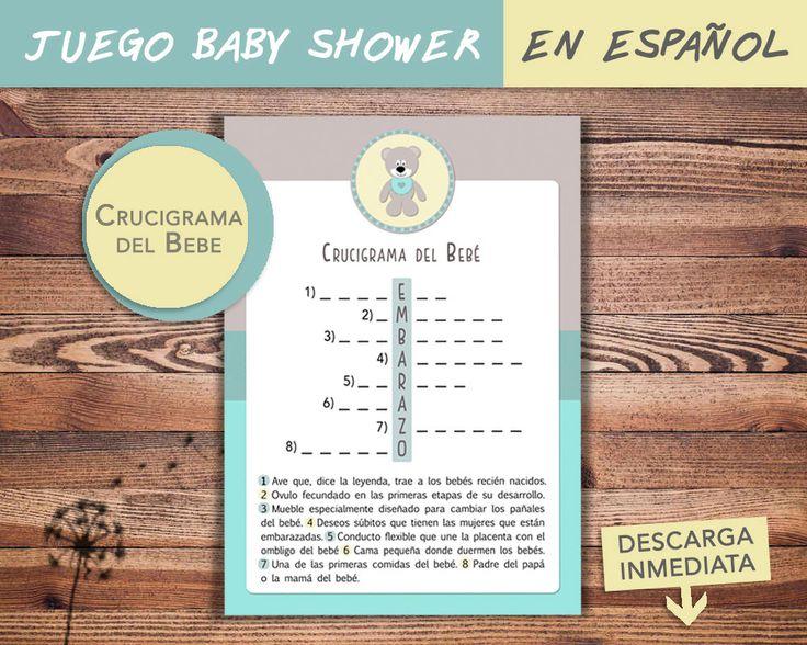 Juego Baby Shower en ESPAÑOL / CRUCIGRAMA del Bebe / Baby shower Game in SPANISH / Descarga inmediata de NuevosVientosDesigns en Etsy