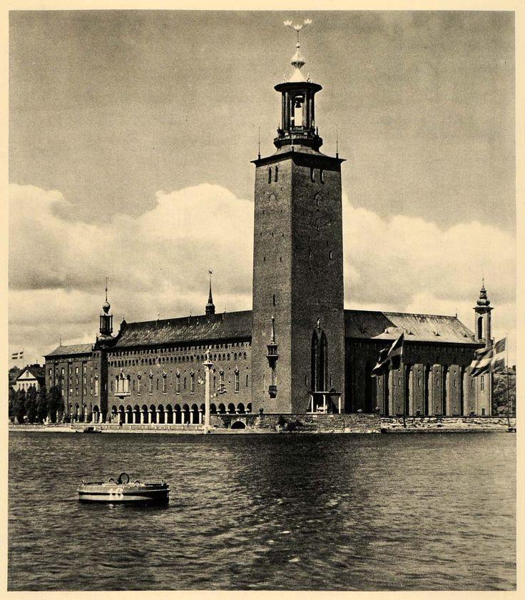 1943 Stockholm Sweden Stadshuset City Hall Kungsholmen - ORIGINAL EUR2