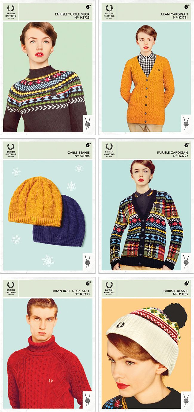 "Today's New Favorites = the controversial Fred Perry vintage-inspired knitting ""patterns"""