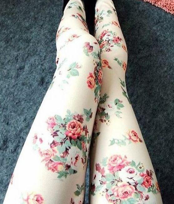 Rose Leggings Pantyhose