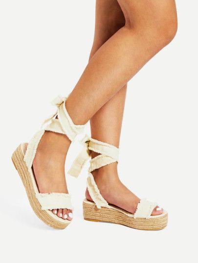 Tie Leg Flatform Denim Sandals -SheIn(Sheinside)