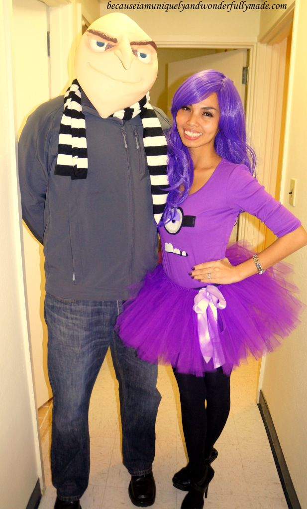 Hubby and I as Gru and his Purple Evil Minion from Despicable Me movie for Halloween 2013.