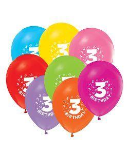 Doğum günü parti süslemeleri için 3 Yaş Doğum Günü Renkli Balonları ve bütün parti malzemelerini online olarak uygun fiyatlar ile satın…