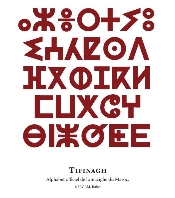 Tamazight, a family of Berber languages spoken mainly in Morocco and Algeria. also used by the Tuareg, particularly the women, for private notes, love letters and in decoration. For public purposes, the Arabic alphabet is normally used.The Tifinagh alphabet is thought to have derived from the ancient Berber script. The name Tifinagh possibly means 'the Phoenician letters', or possibly from the phrase tifin negh, which means 'our invention'.