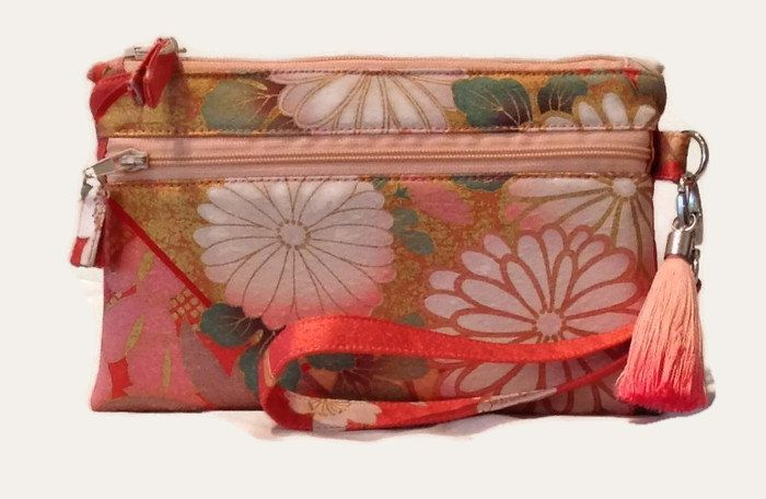 Floral Silk Wristlet, Floral iPhone Pouch, Silk Cell Phone Purse, Travel Purse, Cell Phone Holder, Small Silk Purse, Coral Cell Phone Pouch by SimplySilkScarves on Etsy