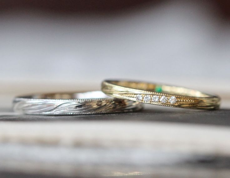 スズランをイメージした結婚指輪(オーダーメイド/手作り) [marriage,wedding,bridal,ring,Pt900,K18,gold,ダイヤモンド,マリッジリング,ith,イズ]