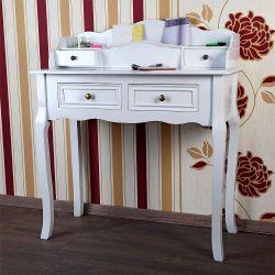 Valkoinen kirjoituspöytä, 159,95€. Tämä antiikinvalkoisen värinen kirjoituspöytä on muotoiltu sopimaan kaikinlaisiin sisustustyyleihin. Pöydässä on neljä vetolaatikkoa ja kaksi käytännöllistä kirjetelinettä. Ilmainen toimitus! #kirjoituspöytä