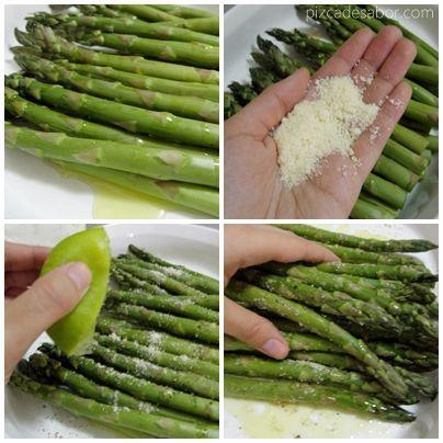 Cómo preparar y cocinar espárragos (parmesano y limón) | http://www.pizcadesabor.com/2013/04/15/esparragos-con-parmesano-y-limon/: