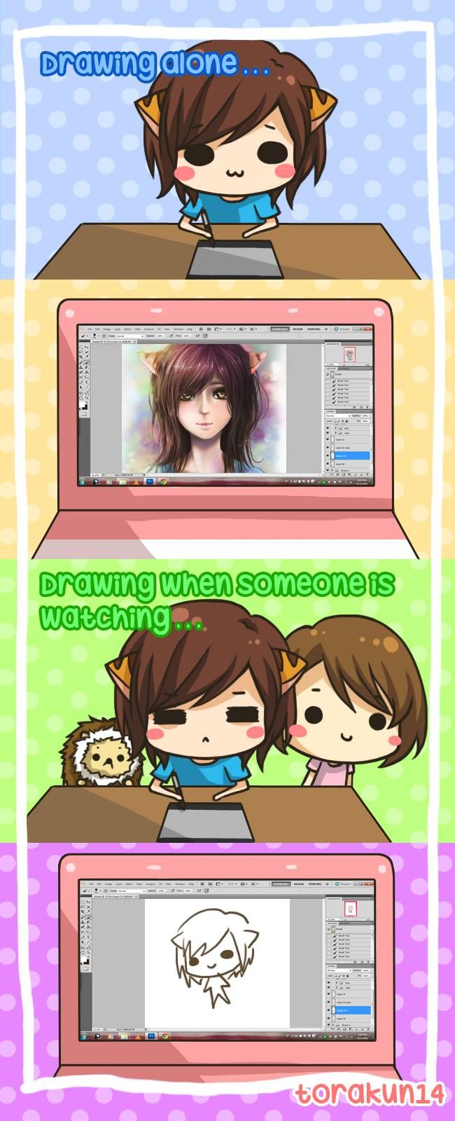 Torakun Comics :: Drawing when someone is watching   Tapastic Comics - image 1