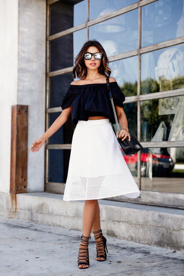 @roressclothes closet ideas #women fashion outfit #clothing style apparel Black Crop Top with White Skirt