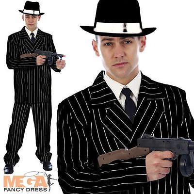 Gangster #black pinstriped suit + hat mens #1920s fancy dress adult #mafia costum,  View more on the LINK: http://www.zeppy.io/product/gb/2/111992773626/