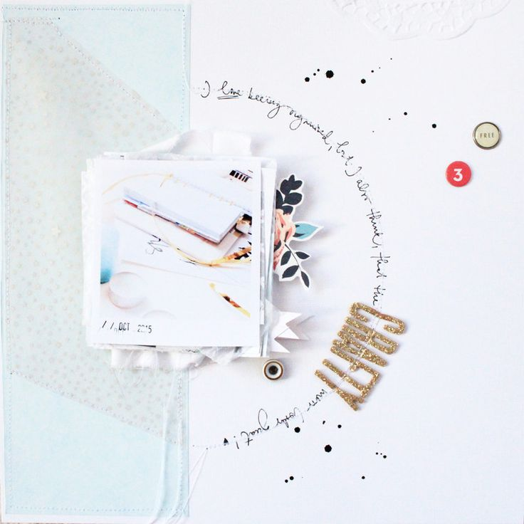 "Love the rich layering here, married with the half circle with the journaling.  ""Heavy"" with ""light"" creates a lovely asymmetric balance. SO fabulous.  CRAFTY mess by luciabarabas at @studio_calico"