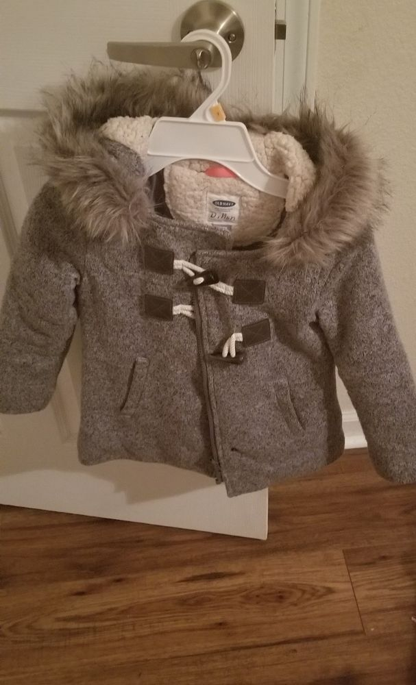 cb97efe76 Old Navy Girls Size XS 5 Fleece Lined Gray Hooded Jacket Coat ...