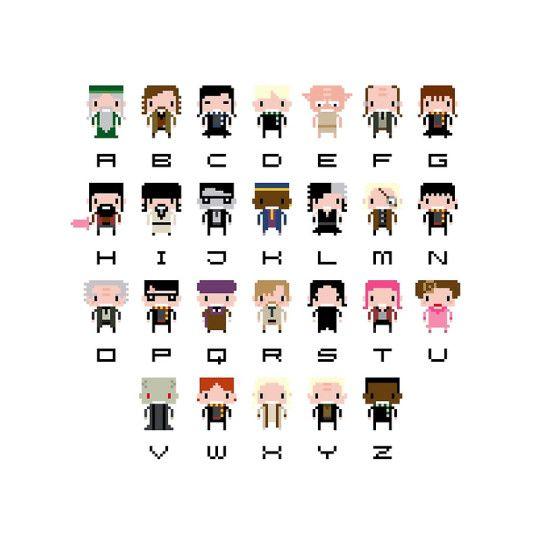 A=Albus Dumbledore, B=Sirius Black, C=Cho Chang, D=Draco Malfoy, E=Elf (Dobby the House Elf), F=Argus Filch, G=Hermione Granger, H=Hagrid, I=Igor Karkaroff, J=James Potter, K=Kingsley Shacklebolt, L=Bellatrix Lestrange, M=Mad-Eye Moody, N=Neville Longbottom, O=Mr. Ollivander, P=Harry Potter, Q=Quirinus Quirrell, R=Remus Lupin, S=Severus Snape, T=Nymphadora Tonks, U=Dolores Umbridge, V=Lord Voldemort, W=Ron Weasley, X=Xenophilius Lovegood, Y=Yaxley, Z=Blaise Zabini - by Sergei Vozika,