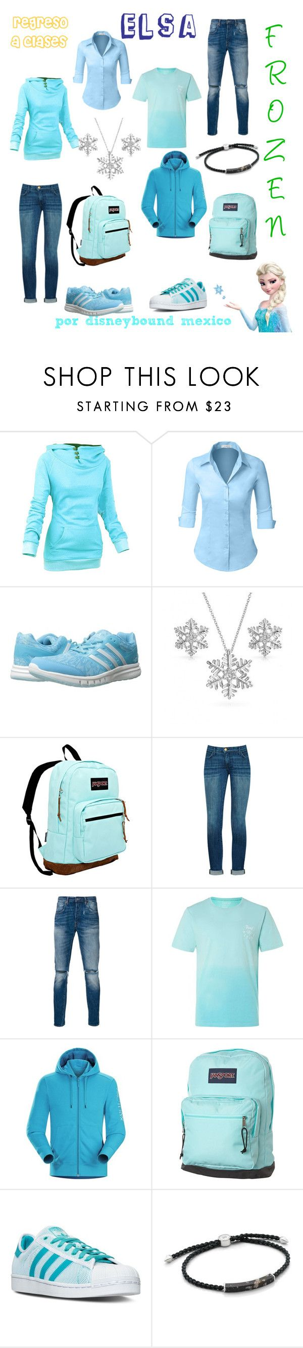 """""""Elsa"""" by disneybound-mexico ❤ liked on Polyvore featuring LE3NO, adidas, Bling Jewelry, JanSport, Levi's, Topman, Arc'teryx and Monica Vinader"""