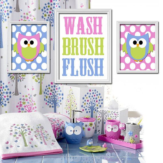 Owl Bathroom Girl Bath Artwork Canvas Or Prints Shared Sister Bathroom Owls Theme Wash Brush Flush Rules Child Bath Decor Set Of 3