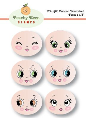 PK-1386 Cartoon Bombshell Faces 1 1/8: Peachy Keen Stamps | Home of the original clear, peach-tinted, high-quality whimsical face stamps.