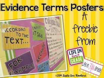 Do your kids need help understanding how to show evidence? These posters provide a great visual aid! :)
