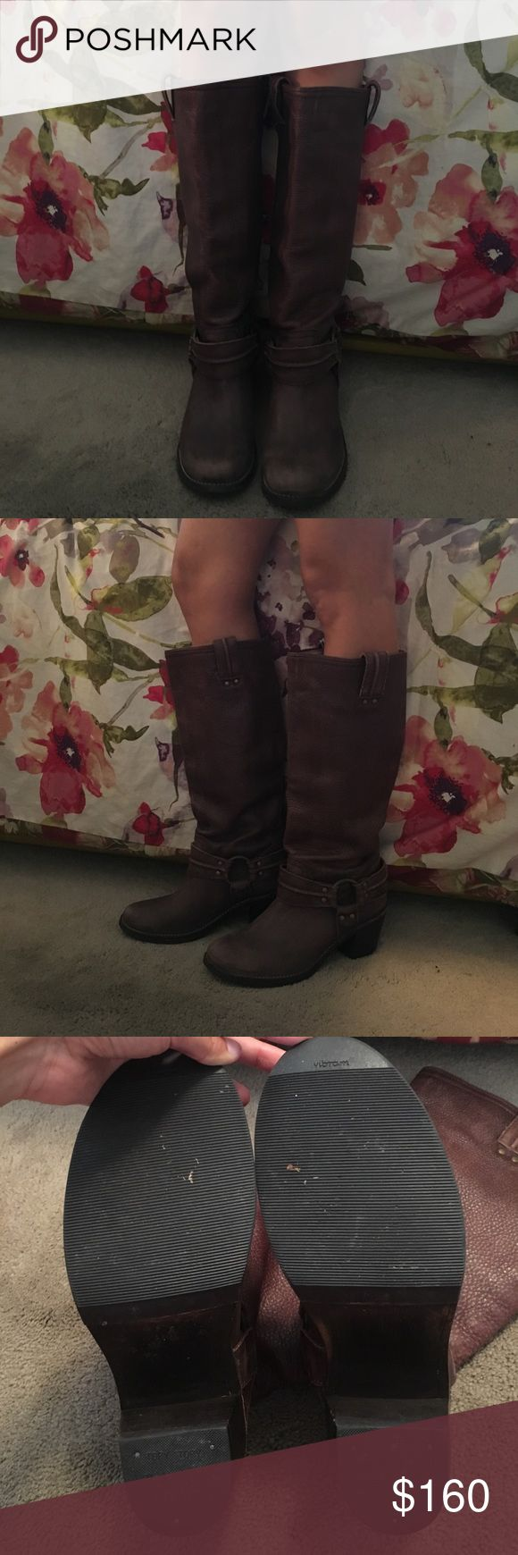 "Frye Harness Boots Brown leather boots with stylish buckle design. 1 3/4"" inch heel. Only worn once so practically in new condition. Frye Shoes Heeled Boots"