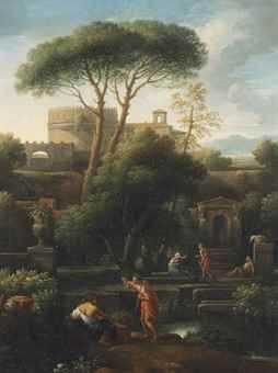 Jan Frans van Bloemen, called l'Orizzonte (Antwerp 1662-1749 Rome) An Italianate landscape with washerwomen and other figures conversing by a stream, classical buildings including the tomb of Cecilia Metella beyond