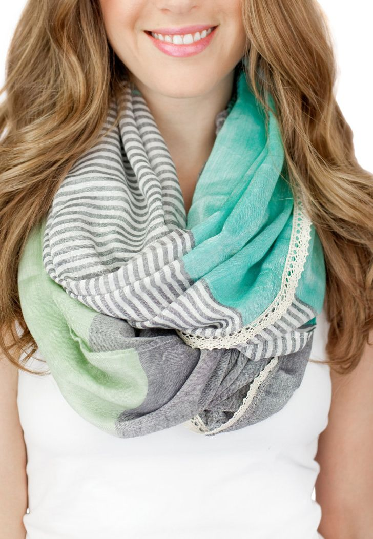 Yes, yes this scarf is sooo My Style. : ) Love the turquoise, sea, & gray colours with lace trim.