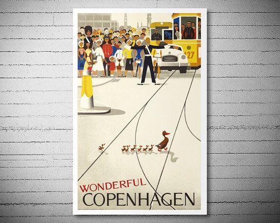 Wonderful kopenhagen vintage travel poster poster print sticker or canvas print gift idea