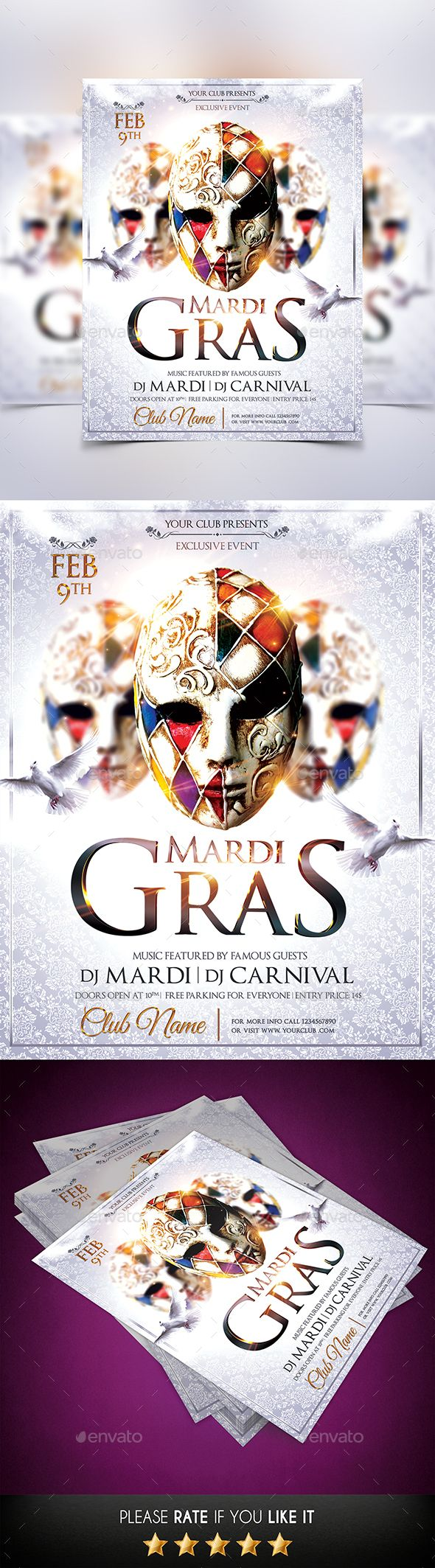 Mardi Gras Flyer Template PSD #design Download: http://graphicriver.net/item/mardi-gras-flyer/14468152?ref=ksioks