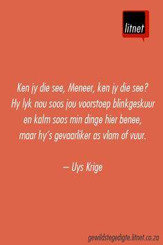 """""""Ken jy die see..."""" deur Uys Krige #afrikaans #gedigte #nederlands #segoed #dutch #suidafrika"""