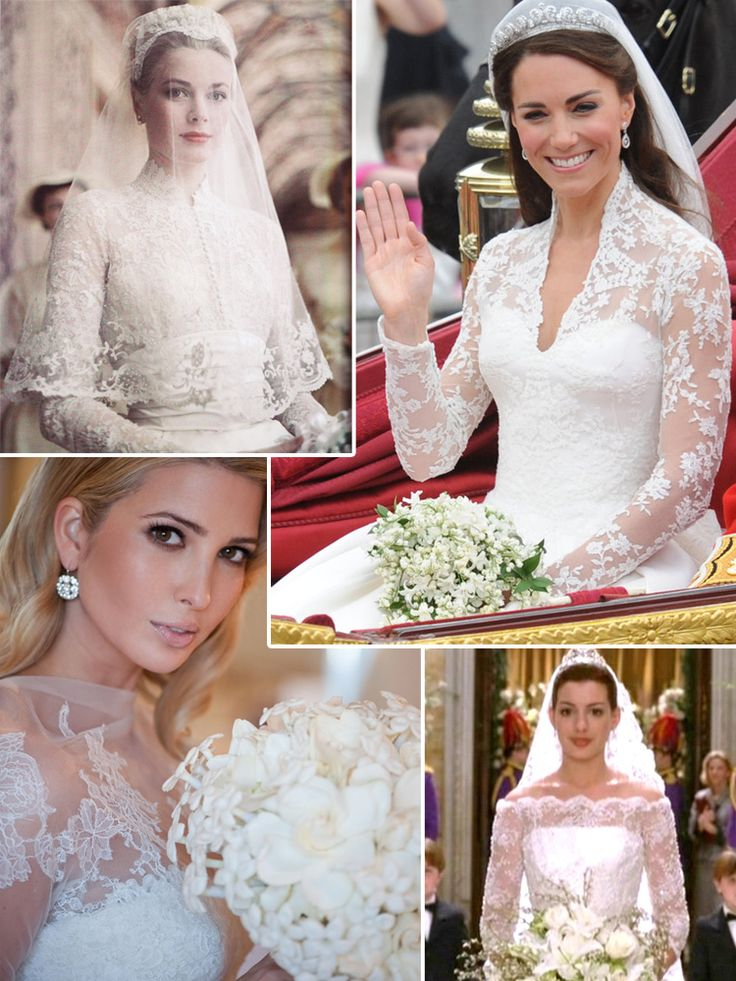 From top, Grace Kelly, Kate Middleton, Ivanka Trump and Anne Hathaway (courtesy of whiteweddingdresses.onsugar.com, 100worldnews.blogspot.com, the-weddingdresses.com and hotflick.net)