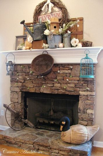 Primitive fireplace decor my web value prim fireplace with stacked boxes teraionfo