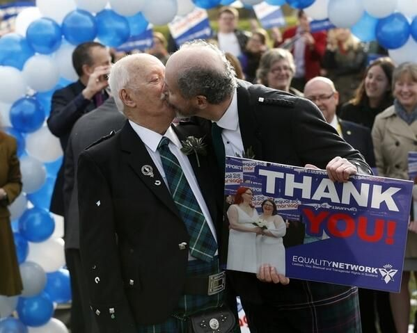 Scotland has legalised marriage equailty! First Scottish gay marriages will take place in the Autumn.