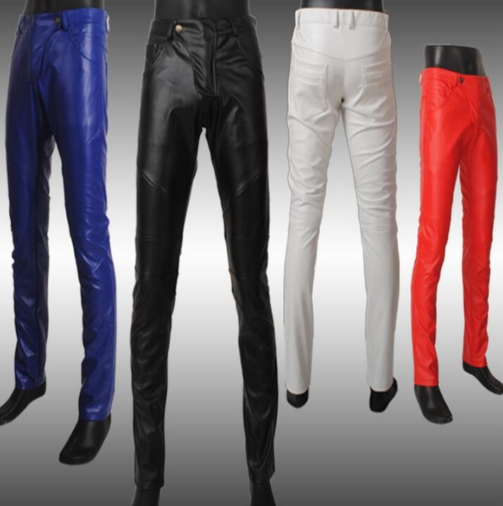 ==> [Free Shipping] Buy Best Autumn fashion motorcycle leather pants men skinny trousers tight pantalones hombre cargo pants for men pantalon black white red Online with LOWEST Price | 32813331051