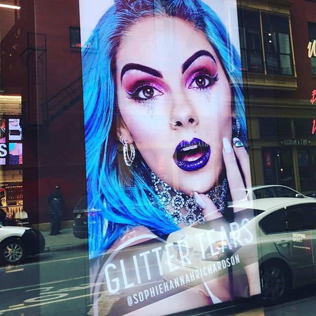 Our girl Sophie Hannah Richardson face of Chromatics NYC in window of NYX in New York City