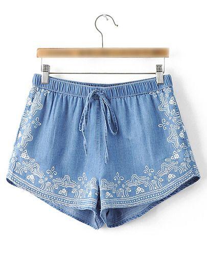 Blue Printed Elastic Waist Vintage Shorts
