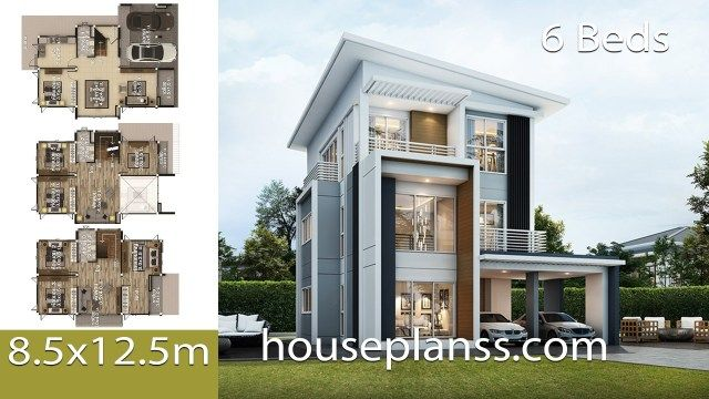House Design Plans Idea 8 5x12 5 With 6 Bedrooms Home Ideassearch Model House Plan Home Design Plans Dream House Plans