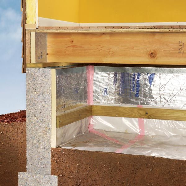 This article will show you how to add 6 mil plastic sheeting on the ground and insulate the walls in your crawlspace. We use foil-faced rigid insulation to keep the space under the house dry. The plastic and the insulation will eliminate any moisture problems you have in the crawlspace, such as water droplets collecting on the concrete walls and pipes.