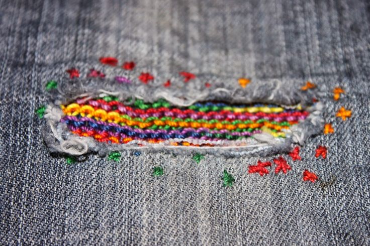 Make a knitted or crocheted patch for holey jeans - Blue Fish On A Bike: Make it Do, or Do Without