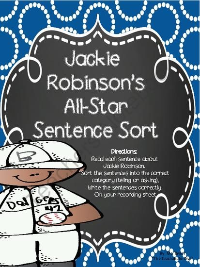 jackie robinson sentence sort from the teachaholic diva on 7 pages. Black Bedroom Furniture Sets. Home Design Ideas