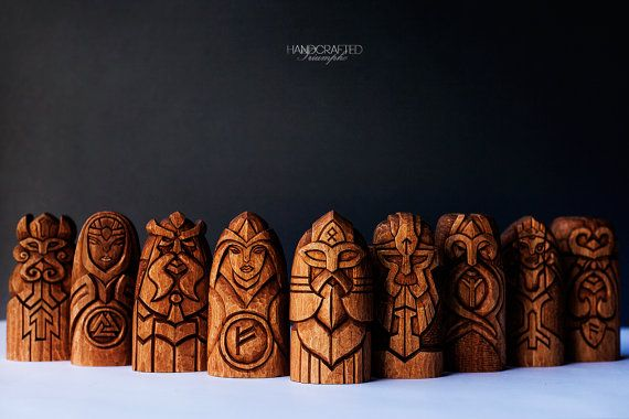 Scandinavian Gods Set.  Perfect gift! Unique wooden statues: Odin, Thor, Freyja, Frig, Magni, Tyr, Heimdallr, Hel and Loki in the one set.