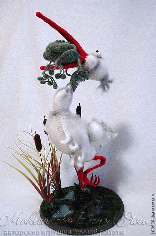 Купить Никогда не сдавайся... - белый, цапля, лягушка, Никогда не сдавайся, аист, авторская игрушка