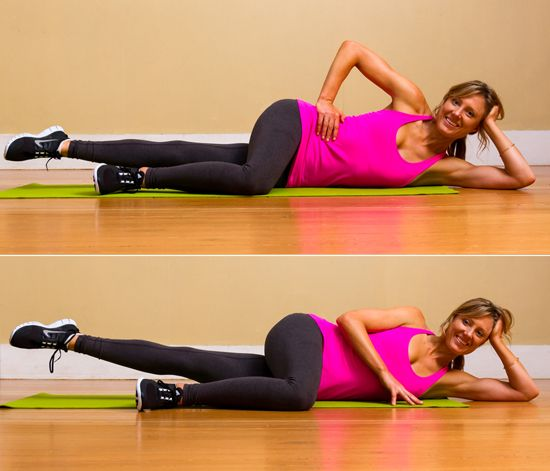 Inner Thigh Series: - Straight-up lifts: Perform 15 reps. - Tiny pulses: Pulse 10 times.  - Small circles: Circle 10 times forward then 10 times backward. - Go halfway: Pause halfway up and down. Perform 15 reps.