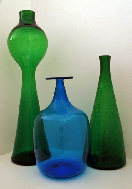 Vintage Blenko Art Glass Bottles Mid-century hand blown art glass architectural decor